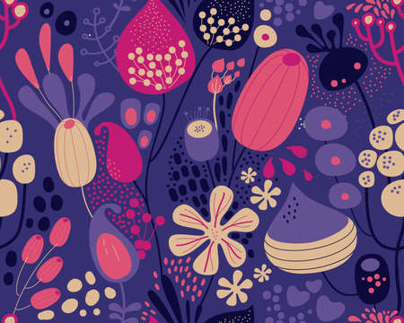 Seamless fantasy floral pattern. Flowers, plants and paisley cucumbers. Modern version of oriental paisley patterns. Stock fotó - 148019164