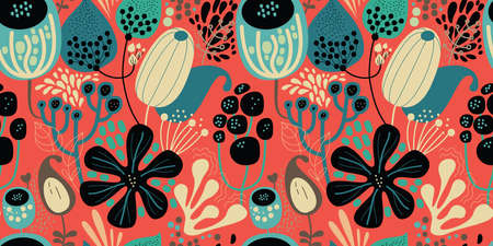 Seamless fantasy floral pattern. Flowers, plants and paisley cucumbers. Modern version of oriental paisley patterns. Stock fotó - 148019178