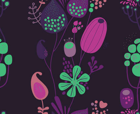 Seamless fantasy floral pattern. Flowers, plants and paisley cucumbers. Modern version of oriental paisley patterns. Stock fotó - 148019179