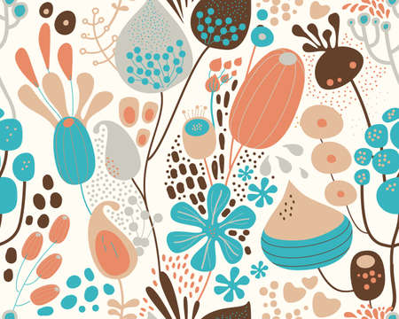 Seamless fantasy floral pattern. Flowers, plants and paisley cucumbers. Modern version of oriental paisley patterns. Stock fotó - 148019182