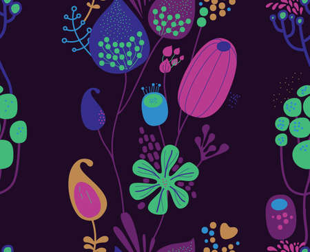 Seamless fantasy floral pattern. Flowers, plants and paisley cucumbers. Modern version of oriental paisley patterns. Stock fotó - 148019298