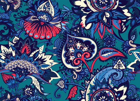 Seamless floral pattern in oriental style. Traditional paisley motifs. Textiles and wallpaper. Illusztráció