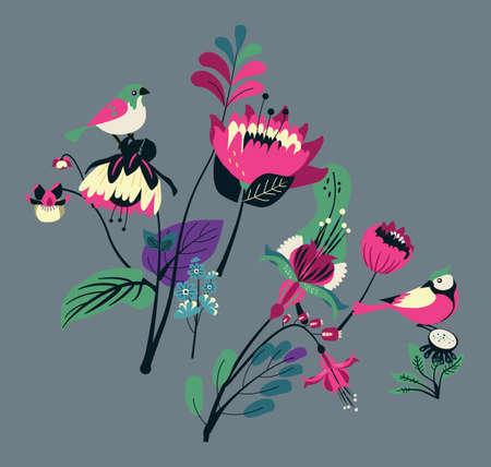 Decorative flowers and birds. Floral elements for decoration. Summers pattern