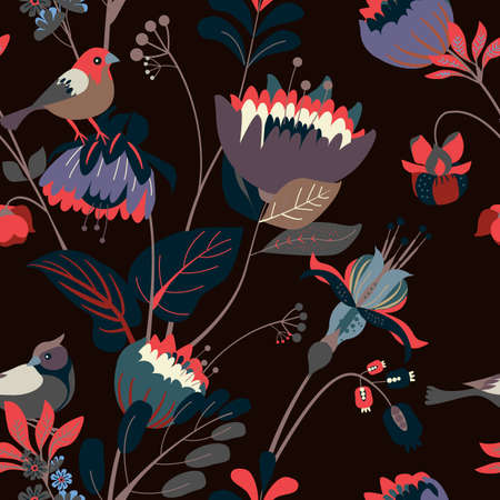 Seamless floral textile pattern. Floral fantasy for fabric with flowers, leaves, plants, buds and birds. Illusztráció