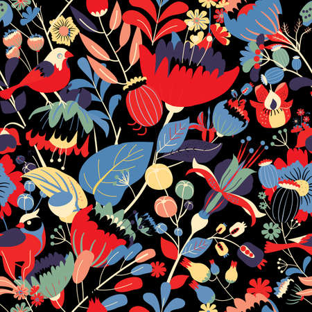 Seamless floral textile pattern. Floral fantasy for fabric with flowers, leaves, plants, buds and birds. Vector Illustratie