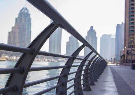 scamper: morning jog in Dubai in the fog Stock Photo