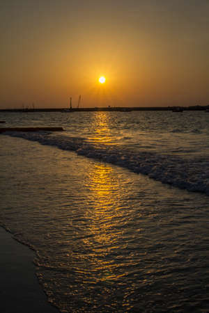 persian gulf: Radiant sun before sunset in the Persian Gulf