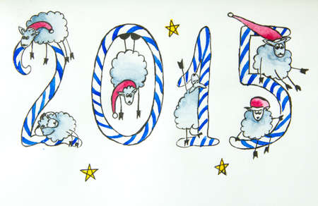 sheeps: Christmas card with  candy letters and New Year sheeps Stock Photo