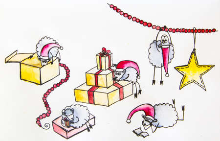 sheeps: New Year sheeps opening Christmas presents Stock Photo