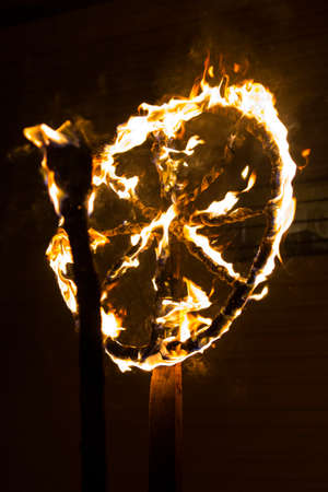 traditional burning fiery wheel in Slavic celebration of the winter solstice
