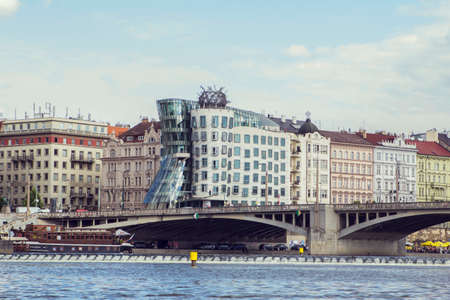 dancing house: waterfront views and towers \Dancing House\ with the Vltava in Prague Stock Photo