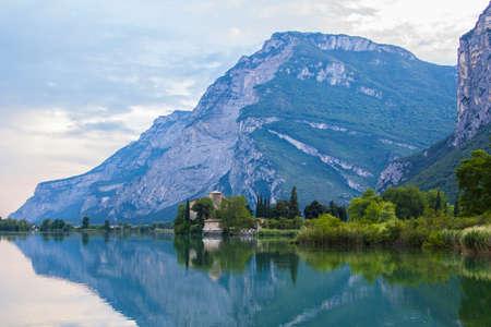 postcard views of the landscape Tolbino alpine lake in the region of Trentino in Italy photo