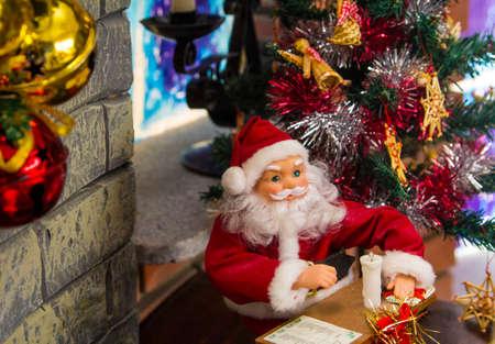 mantelpiece: office of Santa Claus ornaments on the mantelpiece
