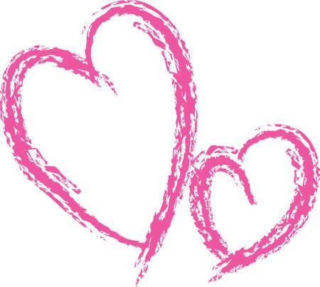 Tarjeta de ilustración vectorial dos corazones rosados Foto de archivo - 35472874