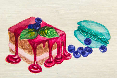jams: a piece of sponge cake with raspberry sauce and blueberries and macaron