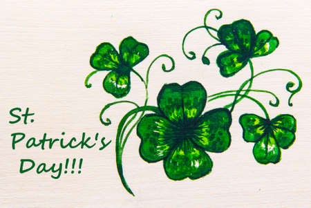 st patrick: Card St. Patrick green clover watercolor hand-drawing