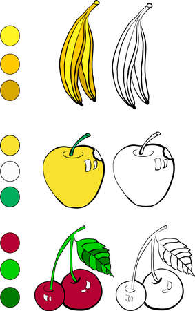 supporting: Coloring book with banana, apple and cherry vector illustration