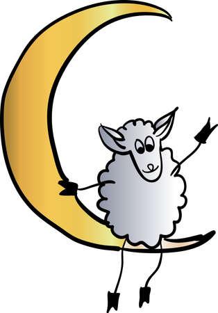 joyous: sheep on the moon vector illustration Illustration