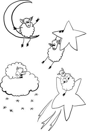 set of sheep in space, contour vector illustration for coloring book Vector