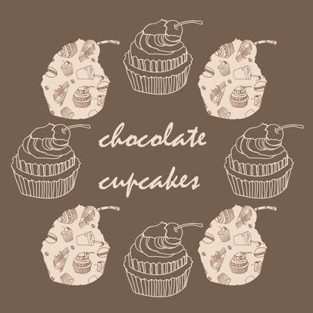 Vintage card with frame of chocolate cupcakes vector illustration Vector