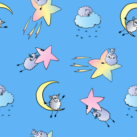 pattern of sheep in space, vector illustration on a blue background