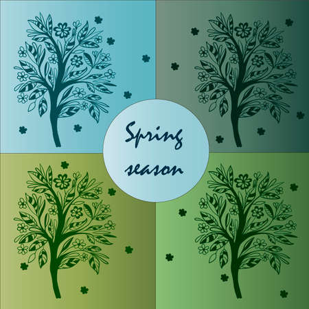 pastel tone: card spring season with patterned tree vector illustration