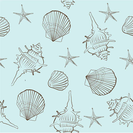 sea shells: seamless pattern of sea shells on a light turquoise background vector illustration Illustration