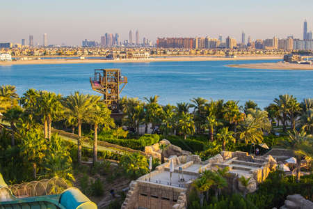 persian gulf: top view of the water slides and the Persian Gulf from Water park on the Palm Jumeirah