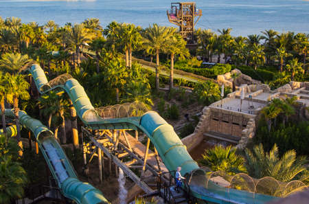 top view of the water slides at the water park on  Palm Jumeirah photo