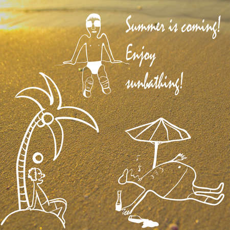 tans: set of vector illustrations of people sunbathing on sandy beach background