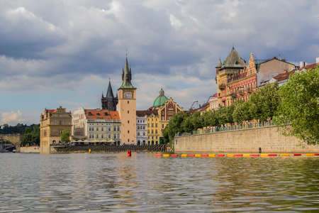 old town hall: view of the river Vltava and the Old Town Hall with water