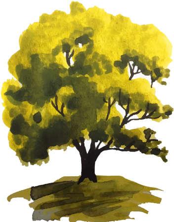丘の上緑のオークの木の水彩イラスト  イラスト・ベクター素材