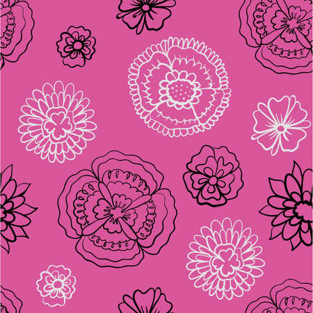 pattern of black and bright flowers on a pink background vector illustration