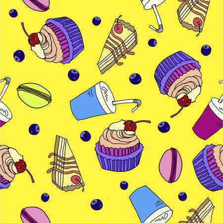 blueberry cheesecake: colorful seamless pattern with sweets doodle vector illustration