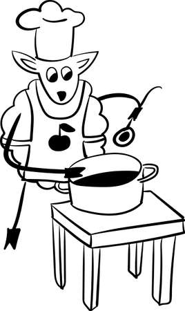 sheep Chef  funny outline vector illustration Vector