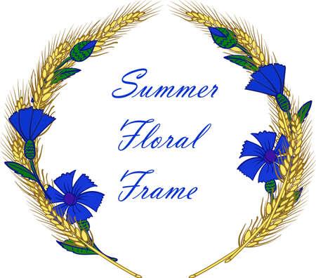 bluet: wreath frame with cornflowers and ears vector illustration Illustration