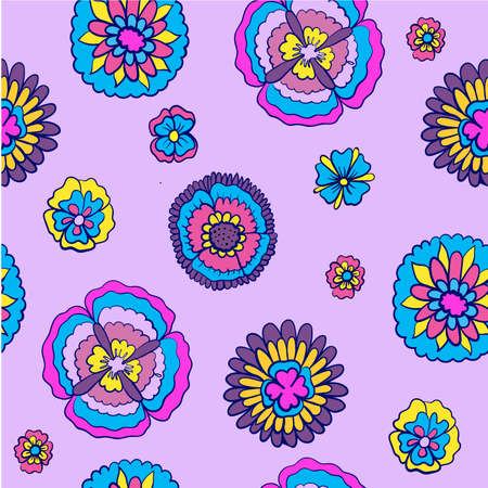 bright floral pattern on a purple background vector illustration Vector