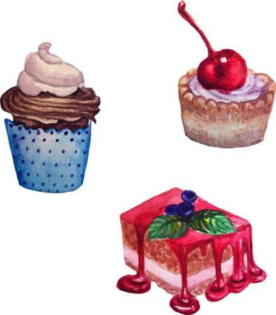 watercolor vector illustration set of cakes and desserts