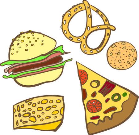 fastfood: Set baking fastfood doodle vector illustration