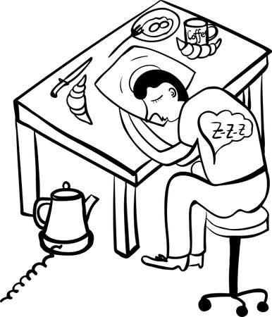 irony: early breakfast comic black and white vector illustration Illustration