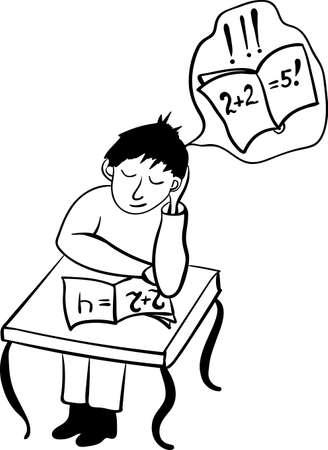 fell: Dreamer student fell asleep in class comic vector illustration