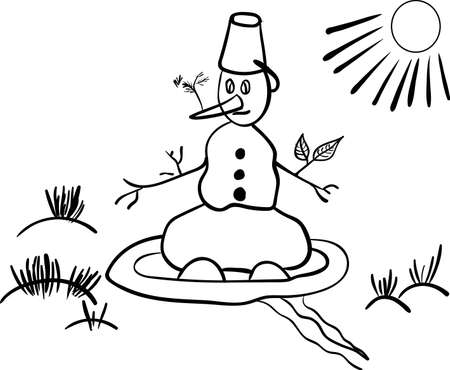 parody: Snowman melting in the spring of comic vector illustration