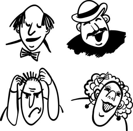 bald woman: vector comic illustration people and emotions