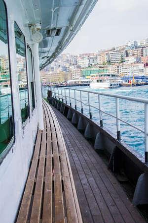 passenger ship: marine deck of a passenger ship in Istanbul  Karakoy