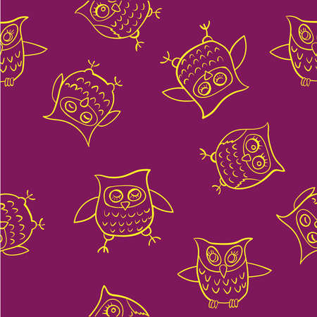 yellow pattern funny owl on a dark red background vector illustration Vector