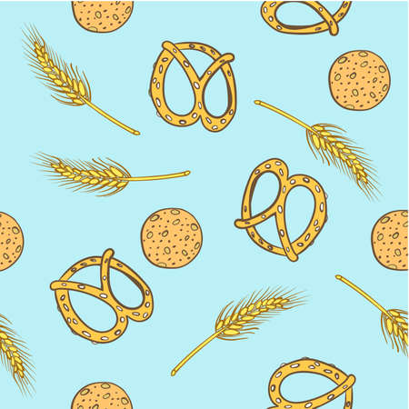 pattern baked bread and spikelets on a blue background vector illustration Vector