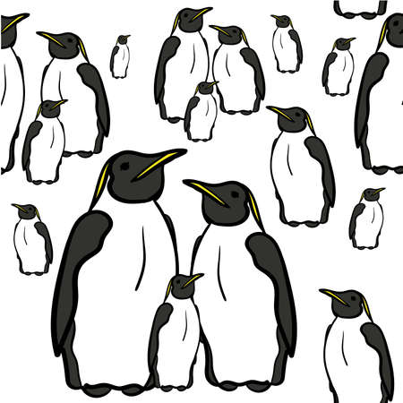 north pole: seamless pattern of penguins at the North Pole vector illustration