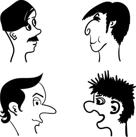 irony: profiles of men with different hairstyles and facial expressions comic vector illustration