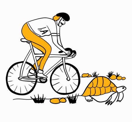 new Achilles overtakes the tortoise on a bicycle vector illustration caricature