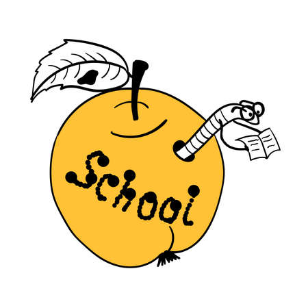 september 1: Scientist worm built himself a school in the apple and reading a book comic vector illustration Illustration